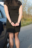 Women handcuffed criminal police. Photo of women handcuffed criminal police Royalty Free Stock Images