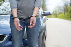 Women handcuffed criminal police Stock Images