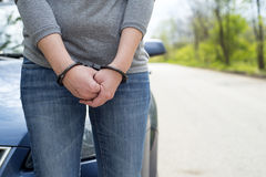Women handcuffed criminal police Royalty Free Stock Images