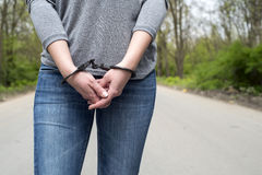 Women handcuffed criminal police Royalty Free Stock Photography