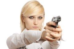 Women with handgun Royalty Free Stock Photos