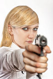 Women with handgun Royalty Free Stock Photography