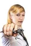 Women with handgun Royalty Free Stock Photos