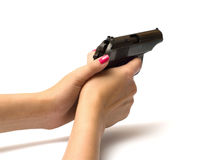 Women with handgun. Royalty Free Stock Image
