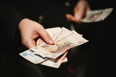 Women hands counting Russian banknotes Royalty Free Stock Photo