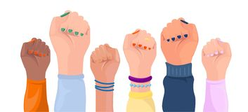 Women hands with different skin color. Girl power poster. Set. Hands with different  trappings. Feminism, race equality, tolerance royalty free illustration
