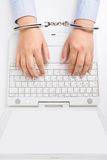 Women hands in handcuffs Royalty Free Stock Images
