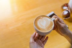 Women hands holding hot cup of coffee or tea in morning sunlight royalty free stock images