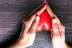 women hands, holding red heart, giving to someone stock images