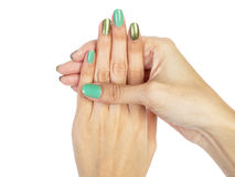 Women hands with nail manicure Stock Photos