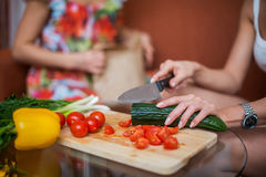 Women hands preparing dinner in a kitchen concept cooking, culinary Royalty Free Stock Images