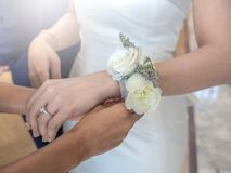 Women hands tying up white rose flower bracelet to the bride stock photos