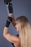 Women hanging on chains Royalty Free Stock Photo