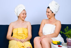 Women Happy Conversation At Spa Salon Royalty Free Stock Photos