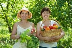 Women with harvested vegetables in garden