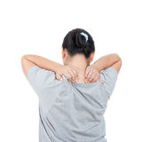 Women has neck pain. stock photography