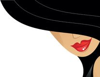Women with hat. Women with black hat and red lips Stock Illustration