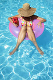 Women with Hat in Pool Stock Photos