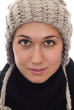 Women with hat and scarf. Looking at camera, on white background royalty free stock photography