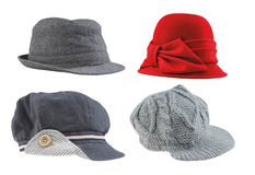 Women hats. Collection of women modern hats and caps with clipping path royalty free stock image