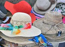 Women hats in the shop Royalty Free Stock Image