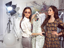 Women in haute couture pnry. Woman in fashion atelier haute couture Royalty Free Stock Photo