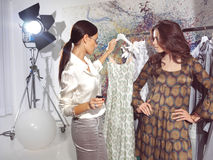 Women in haute couture sa. Woman in fashion atelier haute couture Royalty Free Stock Photography