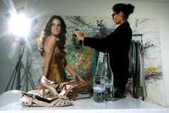 Women in haute couture zxz. Woman in fashion atelier haute couture Stock Photo