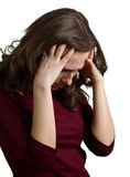 Women have a headache. Young women have a headache. Isolation on white backgrond Stock Photos