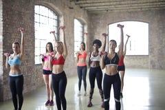 Women Having Exercise Using Dumbbells royalty free stock photography