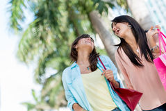 Women having fun shopping Royalty Free Stock Image