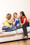 Women having a girls day. A young woman is having problems and is comfort by her girlfriends royalty free stock images
