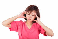 Women having headache, migraine, hangover, insomnia. Royalty Free Stock Image