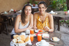 Women having healthy breakfast Royalty Free Stock Images
