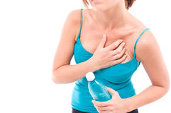 Women having a heart attack. Isolated white Stock Photo