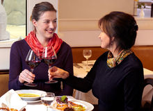 Women Having A Night Out. Two stylish women raising their wine glasses in a toast while enjoying a night out at a restaurant together Stock Image