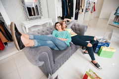 Women having rest after shoping Royalty Free Stock Photography