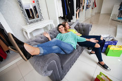 Women having rest after shoping Stock Photography