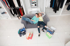 Women having rest after shoping Royalty Free Stock Photos