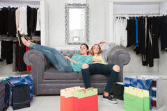 Women having rest after shoping Royalty Free Stock Images