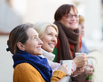 Women having tea on terrace Royalty Free Stock Images