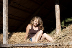 Women in hay Royalty Free Stock Image