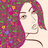 Women head with floral hair Royalty Free Stock Images