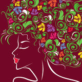 Women head profile with floral hair Stock Photos