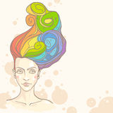 Women head with rainbow hair. Concept of women head with rainbow hair. Vector illustration Royalty Free Stock Photography