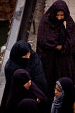 Women with the head scarf that speak in a Damascus street, syria Stock Photo