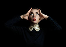 Women, headache. Woman holding his head, stress, headache Royalty Free Stock Images