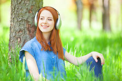 Women with headphones Royalty Free Stock Photography