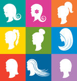 Women heads with beautiful hair Royalty Free Stock Photography