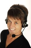 Women with headset. Cute young women with headset Stock Photography